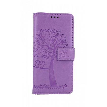 Flipové púzdro na Samsung A41 Svetlo fialový strom sovičky