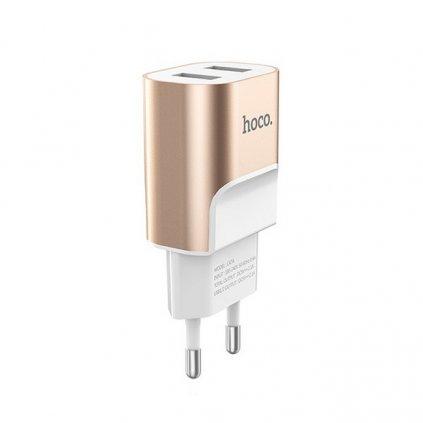 Cestovný adaptér HOCO C47A s funkciou rýchlonabíjania Dual 2.1A biely