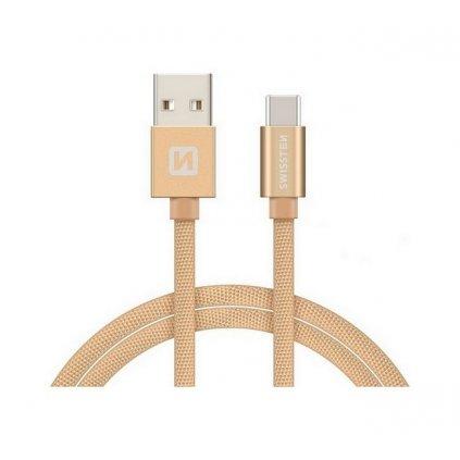 Dátový kábel Swissten USB-C (Type-C) 1,2m zlatý