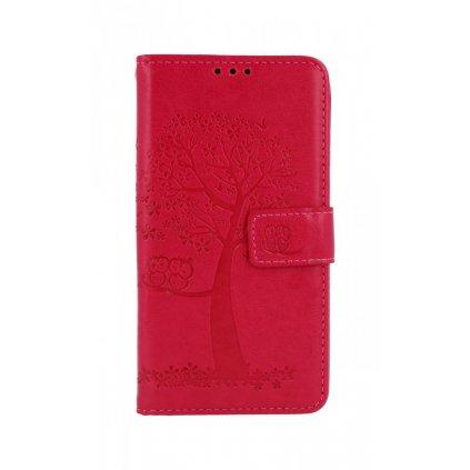 Flipové púzdro na Huawei Y5p Tmavo ružový strom sovičky