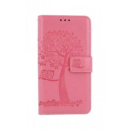 Flipové púzdro na Huawei Y5p Ružový strom sovičky