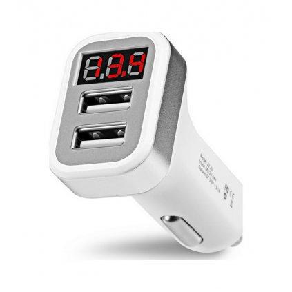 Autodobíječ HOCO Z3 Dual 3.1A s LED displejom biely