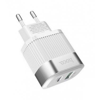 Cestovný adaptér HOCO C58A s funkciou rýchlonabíjania 1xUSB QC 3.0 - 1xUSB Typ C PD 2.0 biely