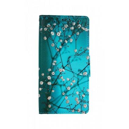Flipové puzdro na Xiaomi Redmi 9 Modré s kvetmi