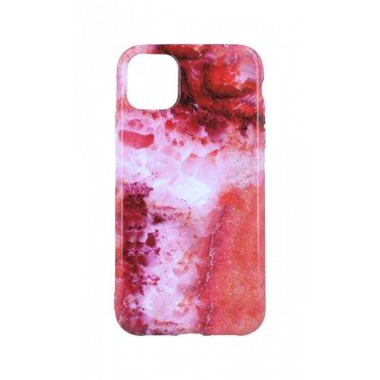 Zadný silikónový kryt na iPhone 11 Mramor červený