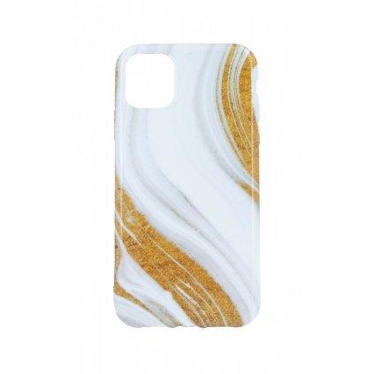 Zadný silikónový kryt na iPhone 11 Mramor bielo-zlatý