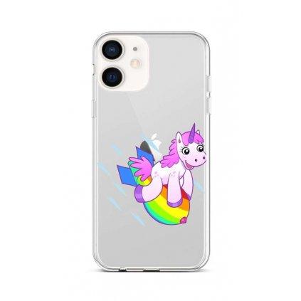 Zadný silikónový kryt na iPhone 12 mini Flying Unicorn