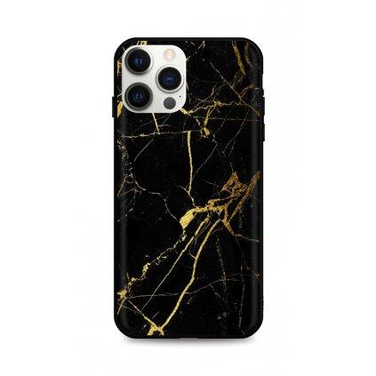 Zadný pevný kryt LUXURY na iPhone 12 Pro Max Marble čierno-zlatý