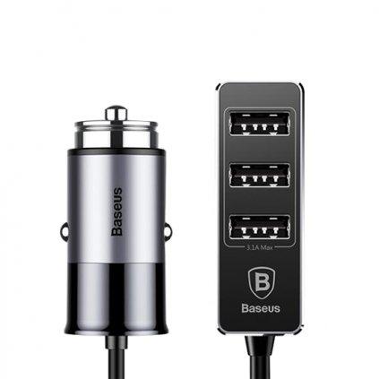 Autodobíječ Baseus so štyrmi USB portami s funkciou rýchlonabíjanie 5.5A šedo-čierny