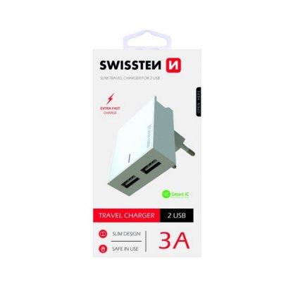 Cestovný adaptér Swissten Dual Smart IC 3A biely