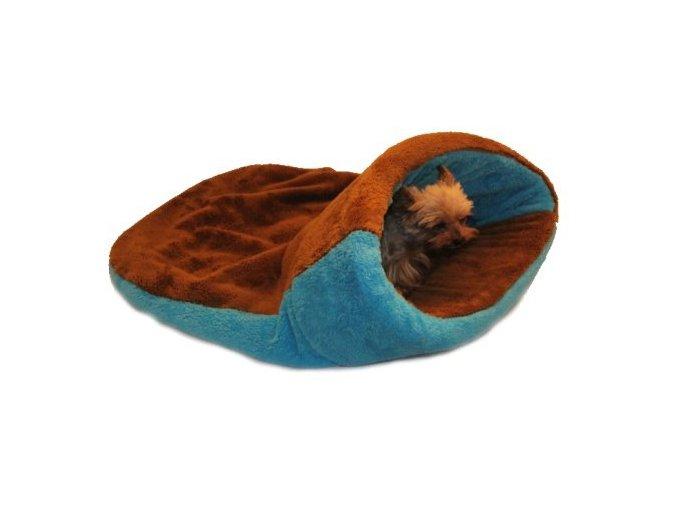 Marysa pelíšek 2v1 s lemem, hnědý/modrý, velikost XL