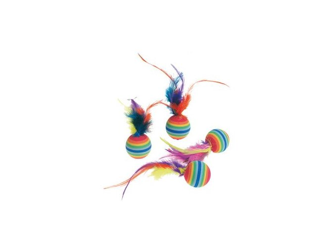Karlie CATNIP duhové míčky s peřím prům.  3 cm