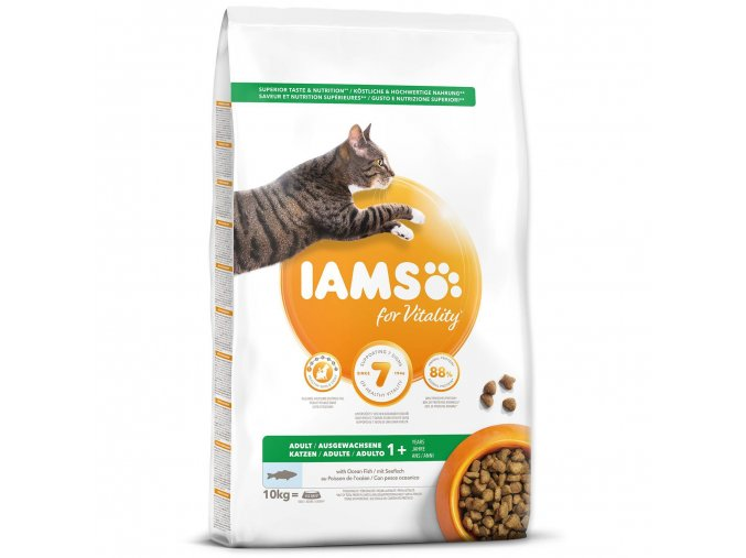 iams for vitality adult cat food with ocean fish 10kg