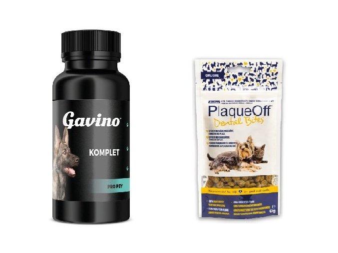 Gavino KOMPLET 120 cps. + PlaqueOff Dental Bites 60g