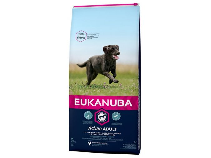 Eukanuba Adult Large Breed 15 kg  + 2xVepřové ucho