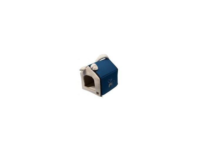 Bouda HUHU modro šedá L 45x45x40cm