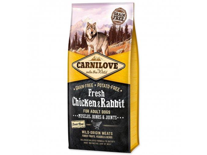 carnilove dog fresh chicken rabbit for adult 12kg