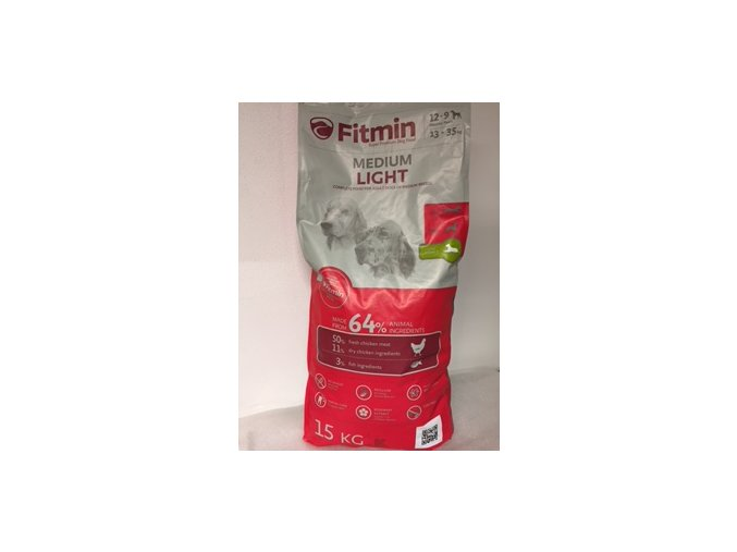 Fitmin Dog Medium Light 15 kg  + Pamlsek měkké kostičky 70g