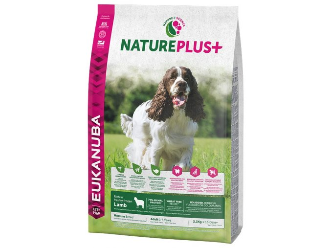 eukanuba nature plus adult medium breed rich in freshly frozen lamb 2 3kg original
