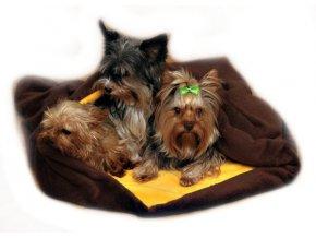 Marysa pelíšek 3v1 pro psy, tmavě hnědý/žlutý, velikost XXL