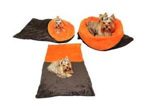 Marysa pelíšek 3v1 pro psy, tmavě šedý/oranžový, velikost XL