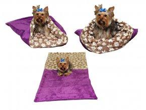 Marysa pelíšek 3v1 pro psy, fialový/hnědý s kytičkami, velikost XL