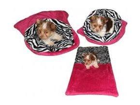 Marysa pelíšek 3v1 pro štěňátka/koťátka, fuchsiový/zebra