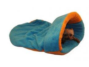 Marysa pelíšek 2v1, s lemem, modrý/oranžový, velikost XL