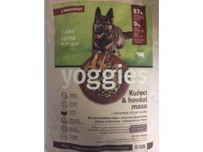 Yoggies granule lisované za studena kuřecí a hovězí 15 kg  + sušené maso 230gr