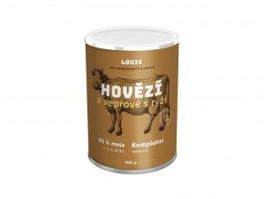 119315 louie konz pro psy hovezi a veprove s ryzi 400 g