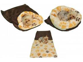 Marysa pelíšek 3v1 pro psy, hnědý/tlapky, velikost XL