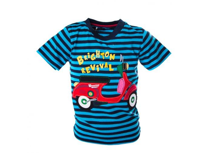 Tričko motorka modré pruhy 1-4 roky