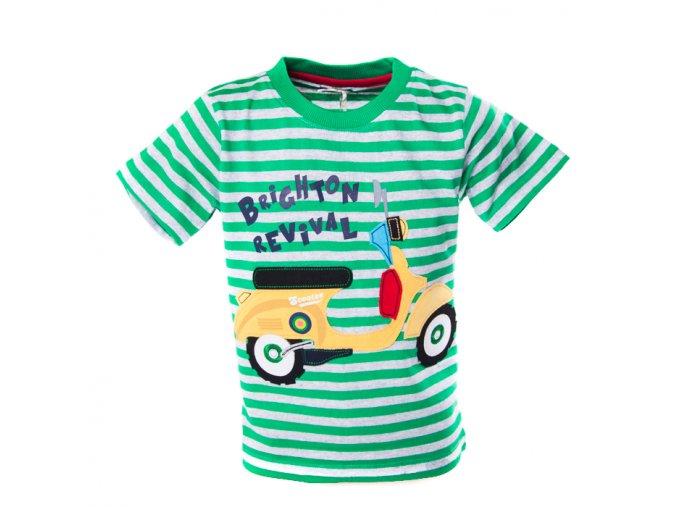 Tričko MINOTI motorka zelené pruhy 1-3 roky