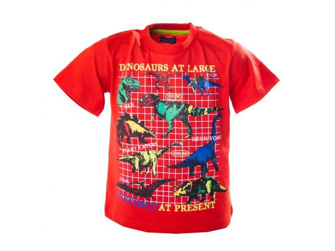 Tričko brontosauři MINOTI červené 1-4 roky