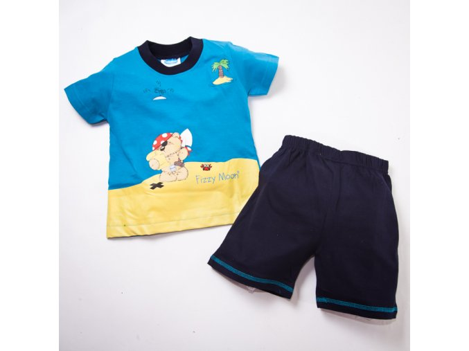 Pyžamo modré krátký rukáv 1-4 roky