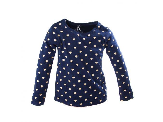 Tričko MINOTI modré zlatá srdíčka 1-4 roky