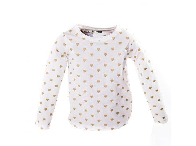 Tričko MINOTI bílé zlatá srdíčka 1-4 roky