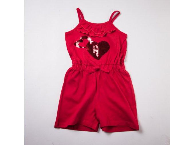 Dívčí krátký overal kraťasový červený 3-8 let