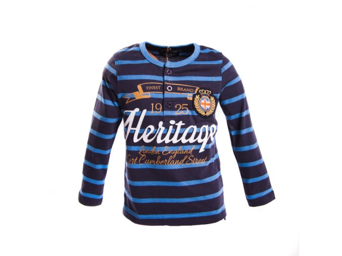 Modré tričko s pruhy Heritague, dlouhý rukáv, silné   100% bavlna