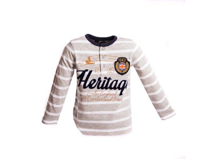 Šedé tričko s pruhy Heritague 3-8 let