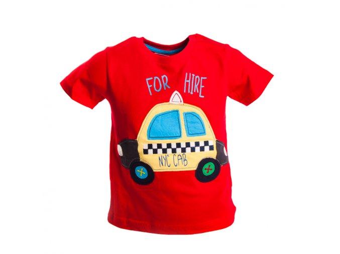 Chlapecké tričko červené MINOTI s autem taxi 0-3 roky