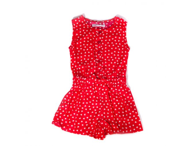 Dívčí krátký Overal kraťasový červený s bílými srdíčky 3-8 let