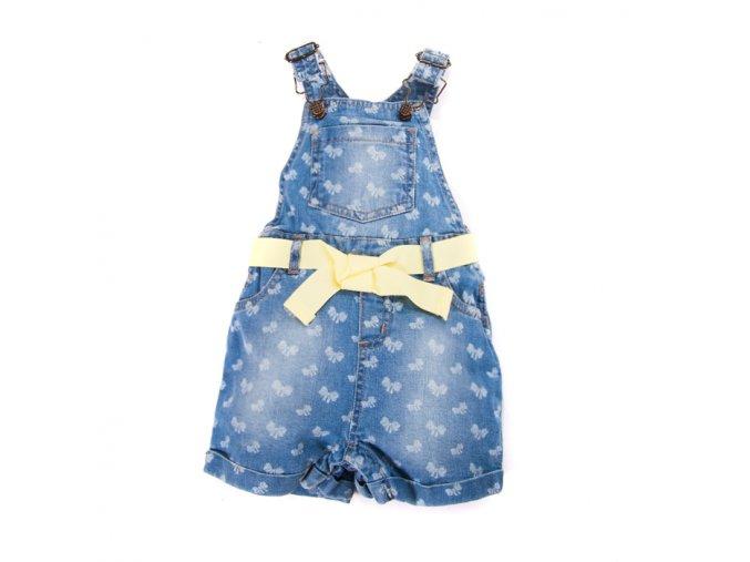 Dívčí Džínové kraťasy s laclem a žlutým páskem 1-4 roky
