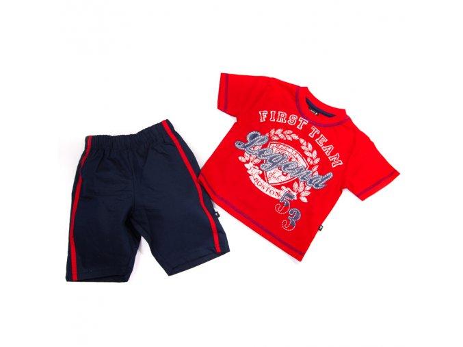 Komplet červené tričko, modré šortky 1-6 let