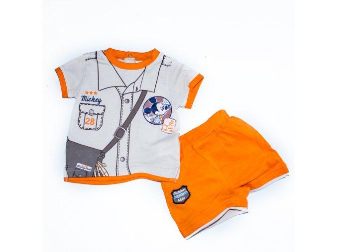 Kojenecký komplet kraťasy triko s Mickey Mouse béžovo-oranžový 0-2 roky