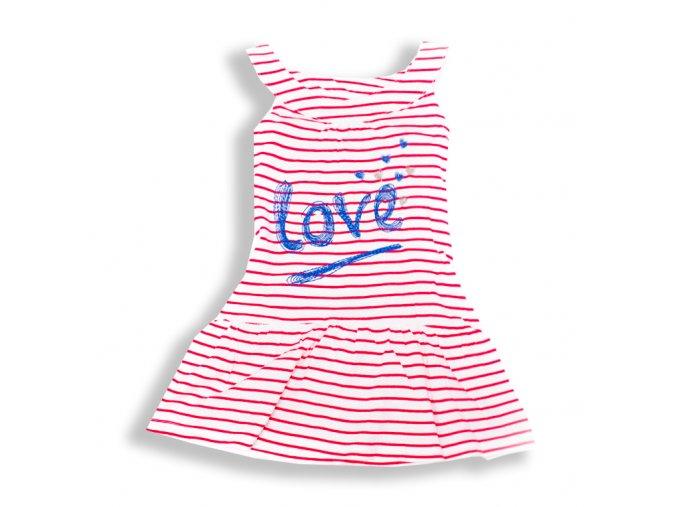 Šaty Love červené proužky 3-8 let