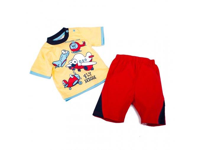 Chlapecký letní komplet s letadlem kraťasy tričko žluto červený 1-2 roky