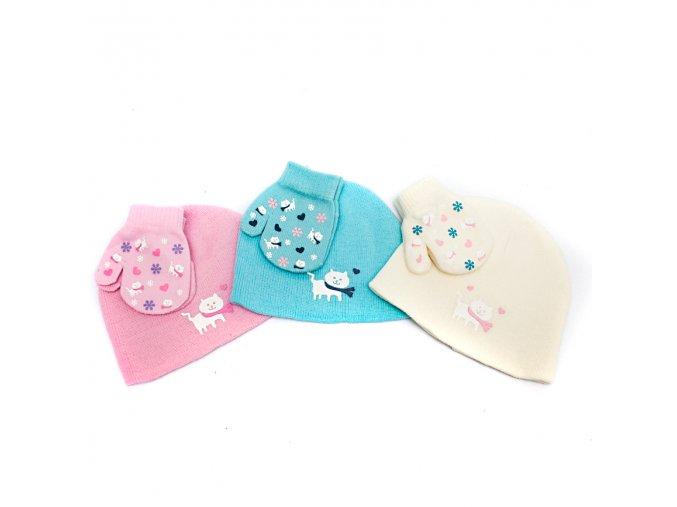 Zimní čepice a rukavičky s kočičkou