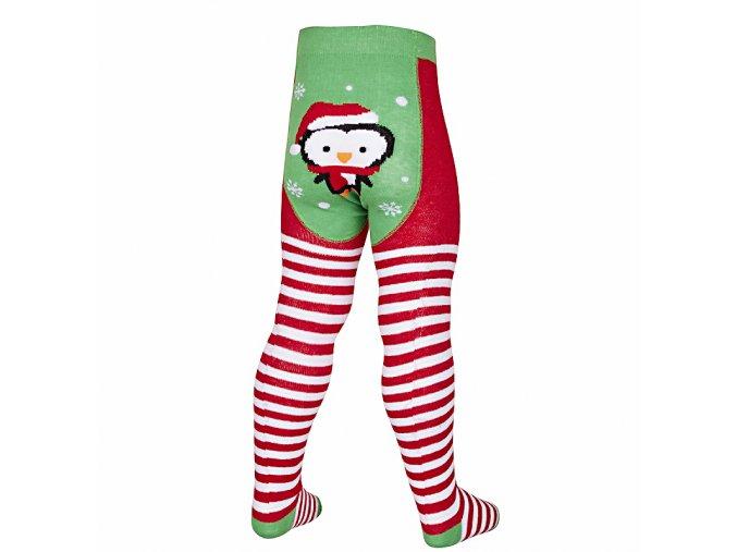 Punčocháče zeleno-červené vánoční zimní motiv