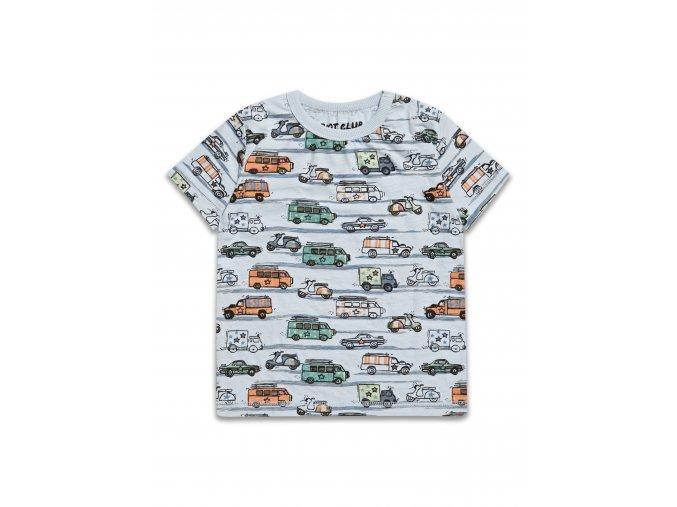 Dětské chlapecké triko šedomodré s autíčky 2-8 let